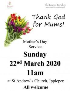 220322 Mother Day 11am Ipplepen Poster